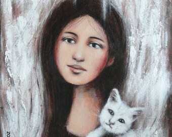 """Painting """"she and her kitten"""" 40 x 50 cm (16 x 20 """") young woman cat portrait"""