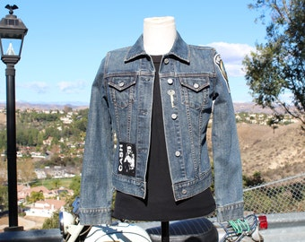 Blue Denim Jacket with Hand Sewn Patches