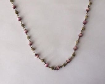 Vintage 1970's Lilac Purple White Ombré Pearly Moonstone Spheres Crystal Necklace