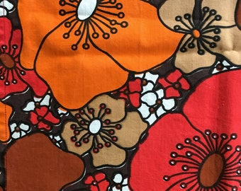 Mid Century Floral Table Runner in Marimekko Style.