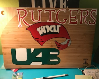 hand painted customized collegiate cutting board