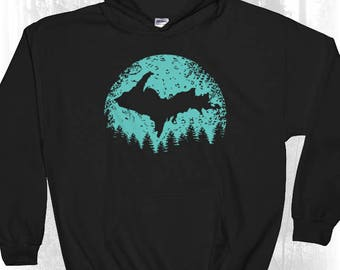 Upper Michigan Moon Hooded Sweatshirt - Yooper Hooded Sweatshirt - Upper Peninsula Hooded Sweatshirt