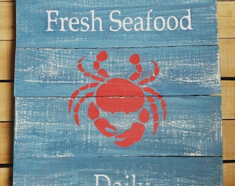 Reclaimed Recycled Pallet Wood Art Sign Rustic Decor Beach House Red Crab Fresh Seafood Daily Maine Ocean Kitchen Decor