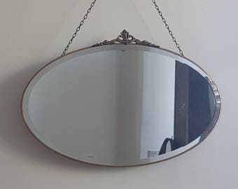 Copper Framed Oval Metal Mirror With Crest & Long Chain