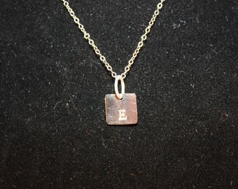 Handstamped Initial Silver Toned Pendant