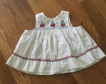 1980's red, white & blue sailboat swing top - size 36 months / 3t