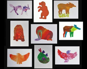 Pick any two blank greeting cards. Alaskan Wildlife animal art. Moose, bear, musk ox, fox, walrus, eagle painting child collage artwork AK
