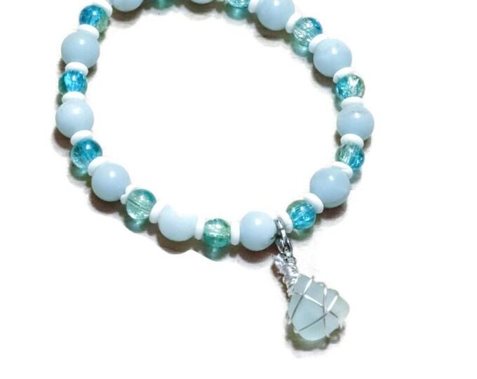 Beaded Bracelet - Aqua beach glass charm - beads - stretch bracelet - blues and aquas - Pretty and Beachy