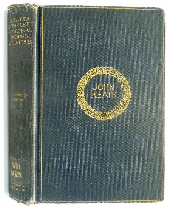 The Complete Poetical Works and Letters of John Keats 1899 Houghton Mifflin - Hardcover