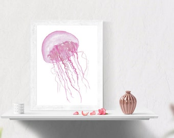 Printable, Pink Jellyfish Watercolour Painting - Digital Download, Wall Art, Home Decor, Ocean Art, Sea Art, Nature Art