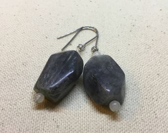 Labradorite and Moonstone Dangle Earrings