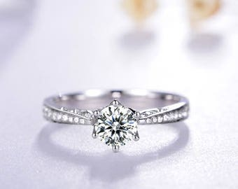 Round Cut Diamond Engagement Ring 14k White Gold or Yellow Gold Classic Design Diamond Ring Art Deco Anniversary Ring