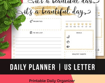 Printable Daily Planner Letter Size • Printable Daily Organizer Printable Daily Planner 2017 Printable Daily Page Daily Agenda Printable