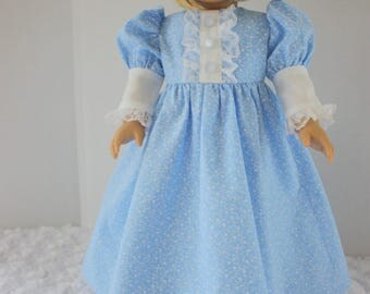 Blue fancy nightgown, Princess style, AG fancy nightgown, American, Fits 18 inch American Girl