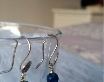 Handmade Sterling Silver Spiral Hook Drop Bead Earrings