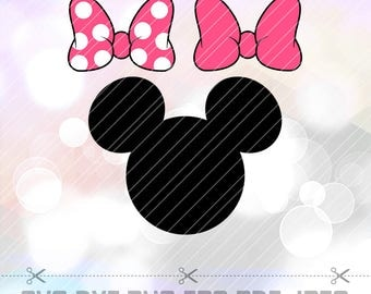 SVG DXF PNG Minnie Mouse Bow Clipart Vector Cut File Cricut Design Silhouette Cameo Decal Vinyl Disney Party Stencil Heat Transfer Iron On