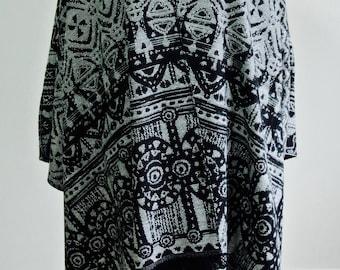 Wool Coat, Tribal Poncho, Plus Size Poncho, Oversize Poncho, Women Clothing, Wool Cape, Wool Poncho, Outerwear, Aztec Poncho, Ethnic Poncho