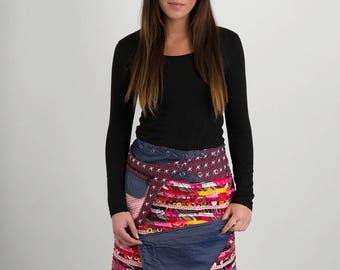 Reversible Cotton Skirt Red Patch Denim Detachable Pocket Long Length