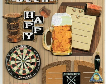 Beer Pub Happy Hour 3d Stickers Scrapbook Embellishments Cardmaking Crafts