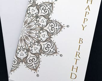 "Large mandala birthday card, 5""x7"" card, gold and black, wrap around design, Happy Birthday"