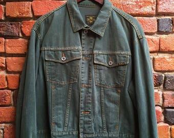 Women's 90s Benetton Dark Forest Green Denim Jacket Size Medium