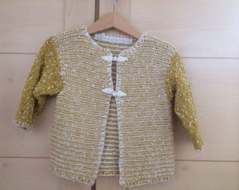 Handknitted and Unusual design Jacket to fit age 2-3. Longer Length