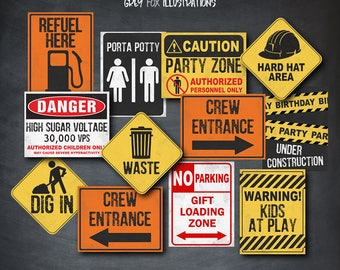 Construction Signs, Construction Birthday Signs, Construction Props, Construction Decor, Birthday, Construction Party, Printables, Digital