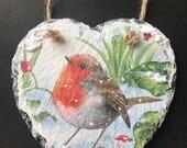 Natural Slate Heart Hanger - Christmas Robin