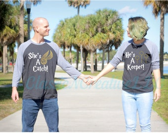 She's a catch, He's a keeper, couples shirts