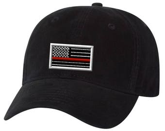 Embroidered Red Line Flag Adjustable Hat
