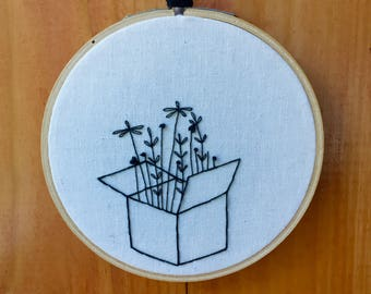 Floral Box Hand Embroidered Hoop Art
