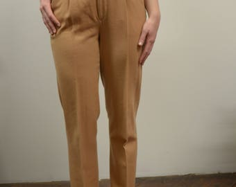 60s Women's SZ S Beige High Waisted Trouser Pants, Chic Wool Straight Leg Pants