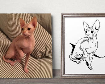 Custom Sphynx Cat Illustration - Sphynx Portrait Print - Black and White - Cat Drawing - Bespoke Art - Wall Decor - Sphynx Lovers Gift