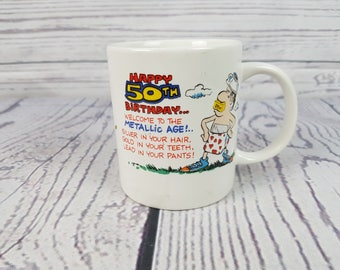 Vintage Happy 50th Birthday Fun Mug Coffee Cup Metallic Age Novelty Retro Decor Break Time Tea Hot Beverages Korea Contenova