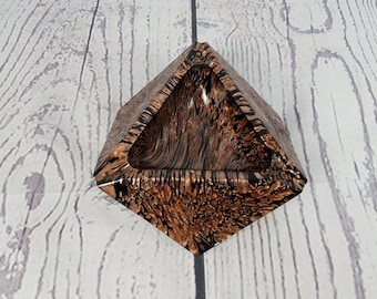 Vintage Unique Ashtray Geometric Glass Bronze & Black Triangle Thick Heavy Cigarette Smoking Break Souvenir Collectible Geometric Decor