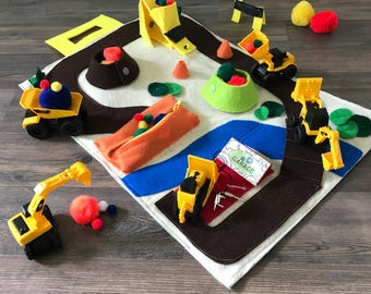 Construction Toys Play Mat for Mini Excavator, Dump Truck & Digger. Educational Building Toys Quiet Book - Best Toddler Boys Birthday Gifts