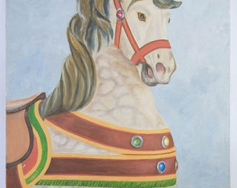 Original Acrylic Painting of Carousel Horse on 18x24 inch Canvas