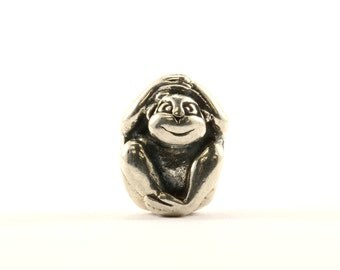 Vintage Cute Monkey Bead Charm Sterling 925 CH 323