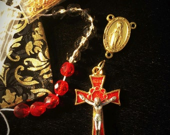 DIY Rosary Kit Ruby Red Fire Polished Beads Gold Silver 2 Tone Crucifix Miraculous Center Smokey Black Our Father Beads