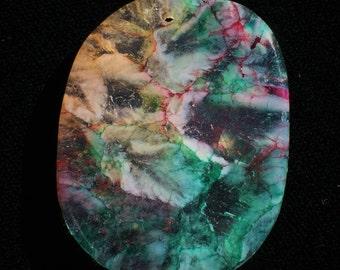 Beautiful Dragons Vein Rainbow Oval ish Aqua Quartz Hot Pink Free Form Crystal Pendant Fire Agate Purple Stone Pendant Bead