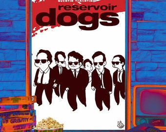 "Movie poster illustrated Quentin Tarantino ""Reservoir Dogs"""
