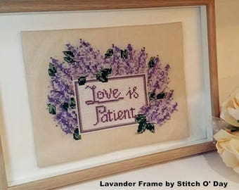Lavender Frame Counted Cross Stitch PDF Pattern