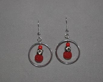 Unique and handmade. Bright red bead, silver beads and silver ring