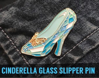 CINDERELLA SHOE PIN - Enamel Lapel Pin Badge badges pins brooch girlfriend gift walt disney princess glitter glass shoe fashion gold