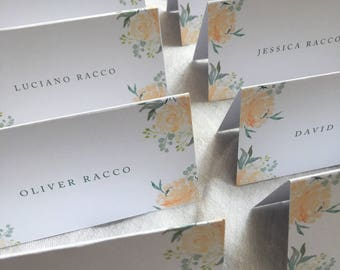 Watercolor Peachy Floral Place Cards / Botanical Tented Escort Cards