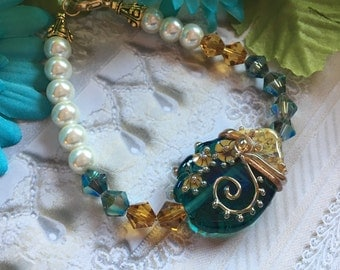 SRA Lampwork Earrings, SRA Lampwork Jewelry, Aqua and Gold Bracelet, Lampwork Jewelry, SRA Lampwork Beaded Bracelet, Gift For Her