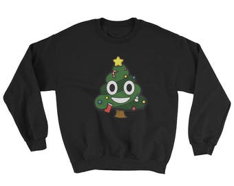 Christmas Tree Costume Sweatshirt Funny Christmas Tree Poop Emoticon Face Sweatshirt