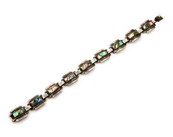 Los Ballesteros Jewelry, Sterling Abalone Bracelet, Vintage Taxco Jewelry, Art Deco Bracelet, Antique 1940 Jewelry, Modernist Taxco Bracelet