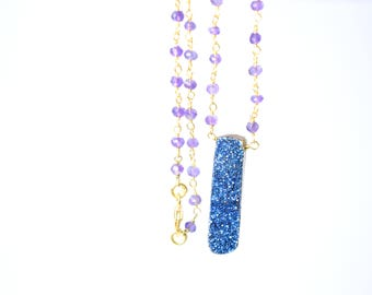 amethyst necklace,amethyst beaded necklace,rosary necklace,druzy necklace,druzy pendant,gold plating necklace,long necklace,druzy jewelry
