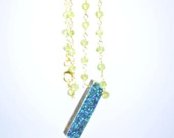 peridot necklace,beaded peridot necklace,peridot rosary necklace,druzy pendant necklace,beaded jewelry ,green color necklace,blue druzy